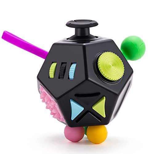 Fidget Dice Anti-anxiety and Depression Cube for Children and Adults - Black Green 12 - Dice Side 12
