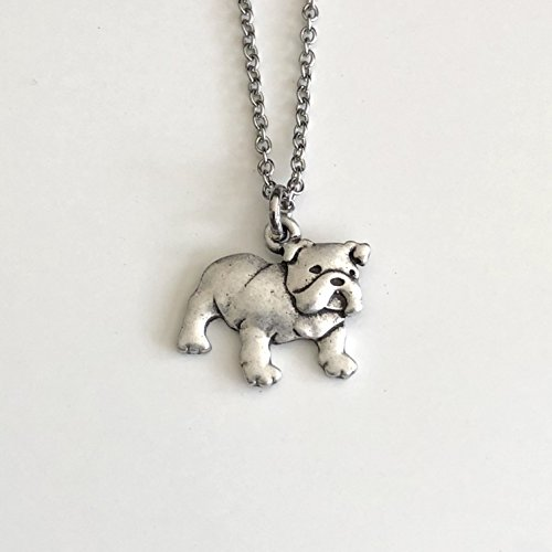 English Bulldog Necklace on Stainless Steel Chain - Bull Dog Breed Jewelry - Dog Mom Gift