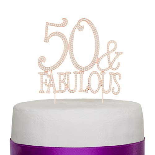 Ella Celebration 50 & Fabulous Cake Topper for 50th Birthday Party Rose Gold Decoration Supplies (50 & Fabulous Rose Gold)]()