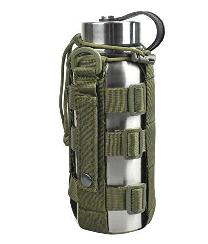 JFFCESTORE Minimalist Adjustable MOLLE Water Bottle Holder Kettle Pouch Belt Bottle Carrier for 17-42 Oz Water Bottle (Green)