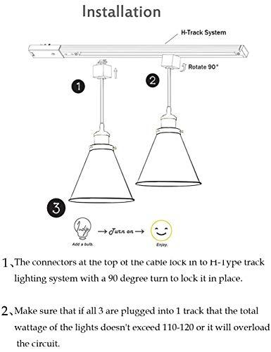 Kiven H-Type Track Lignting Pendant Antique Industrial Oil Rubbed Bronze Pendant Light 3 Pack,TB0132-B-80CM by Kiven (Image #4)