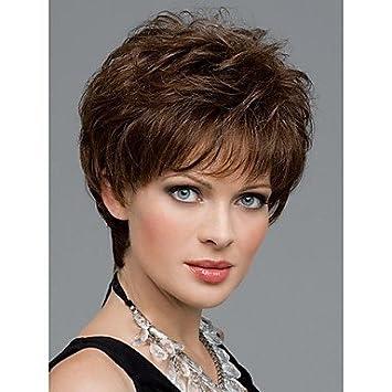 WDBS mujeres bonitas pelucas sintéticas del pelo marrón peluca corta recta natural de la señora con