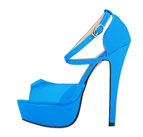 Blue Patent Women's Slip inch Stiletto Heels High Peep Shoes Fashion Sandal PU 5 Toe Platform 5 On sandals HHUZF