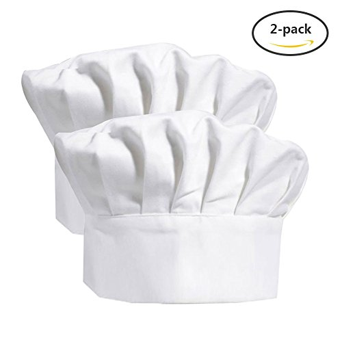 Chef Hat, Yuccer Cooking Hat for Adults Adjustable Elastic Bakers Hat Cotton Pastry Hat for Kitchen, White (white, 2 (Pastry Chef Costume For Kids)
