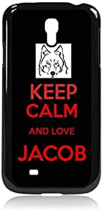 Keep calm and Love Jacob - Black/Red - Hard Black Plastic Snap - On Case with Soft Black Rubber Lining-Galaxy s4 i9500 - Great Quality!