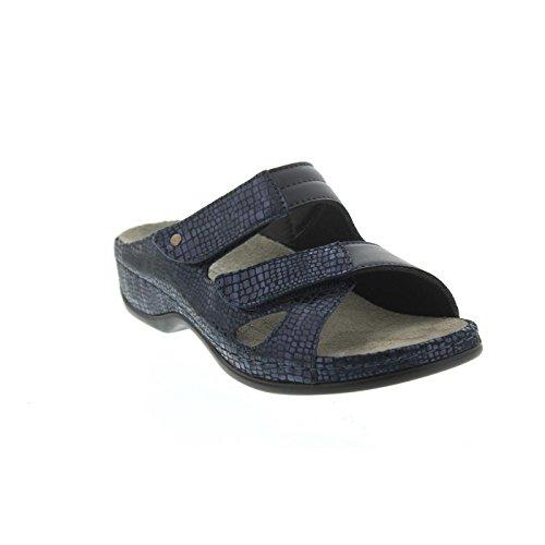 Berkemann Janna, Blu Incontrato. Pelle / Blu Stretch, Pantolette Larga Eh 1027-382 Blu