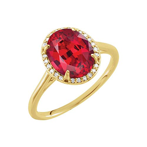 Bonyak Jewelry Lab-Created Ruby 14k Yellow Gold Chatham Created Ruby & .07 CTW Diamond Ring