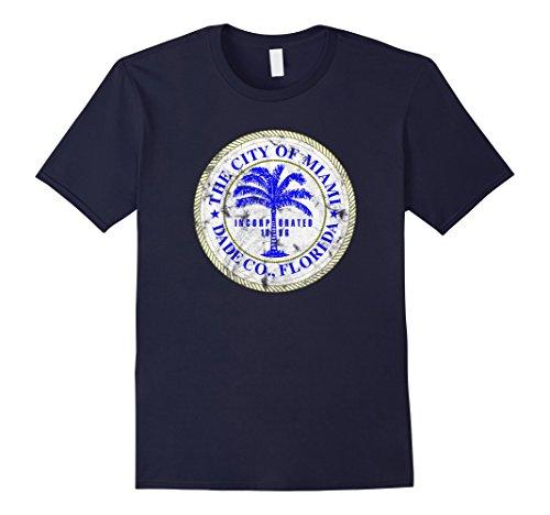 Mens Miami Florida City Seal State Home Pride Dade County T-Shirt 3XL Navy