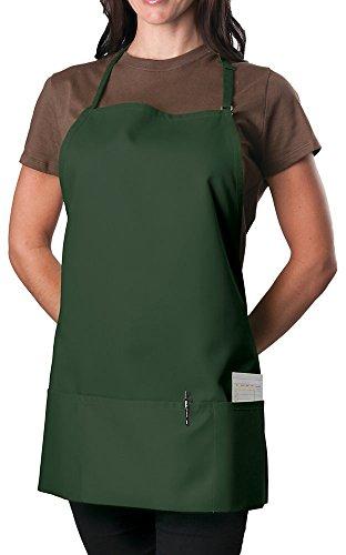 - 6 Pack - Forest Green Adjustable Bib Apron - 3 Pocket