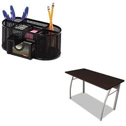 KITLITTR733MOCROL1746466 - Value Kit - Linea Italia Trento Line Rectangular Desk (LITTR733MOC) and Rolodex Mesh Pencil Cup Organizer (ROL1746466)