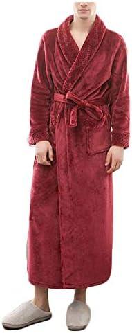 パジャマ CHJMJP パジャマメンズ秋と冬のフランネルステッチ肥厚ロングバスローブバスローブ (Color : 01, Size : XL)