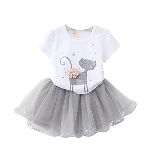 (Kids Girl Toddler Baby Girl Summer Casual Short Sleeve Cute Cat & Floral Tutu Dress Clothes (White, 3T/100))