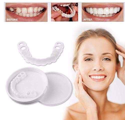 YLYT 1 Pair Temporary Cosmetic Teeth Denture Smile Comfort Fit Flex Cosmetic Teeth Simulated Braces Upper Braces + Lower Braces One Size Fits Most