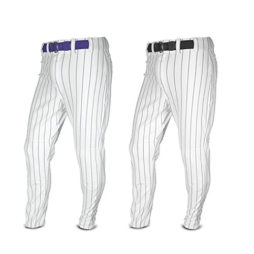 YOUTH Pin Stripe Baseball/Softball Pants (Medium Weight, Double Knees, Zipper, Belt Loops, Back Pocket) (White/Navy Pinstripes, Youth Small (22-24)) (Polyester Stripe Loop)