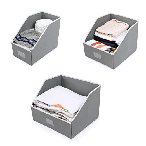Woffit Linen Closet Storage Organizers - Set of 3 Foldable Baskets to Organize Your Sheets, Towels, Washclothes, Blankets, Clothing, Sweaters, Etc - 100% Organic Fabric Bins