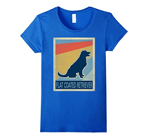 Womens Vintage Flat Coated Retriever Tshirt Large Royal - Coated Retriever Flat