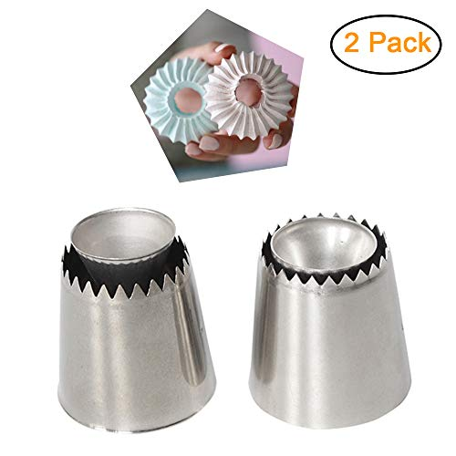 Russian Piping Tips, Baking Piping Nozzles Sultan Ring Cookies Mold Kits, Wilton Cake Decorating Supplies, Best Kitchen Gift (2 pack)