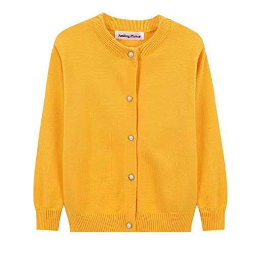 SMILING PINKER Little Girls Crewneck Cardigans Button Knitted Uniform Sweaters Solid Long Sleeves(5-6,Mustard)
