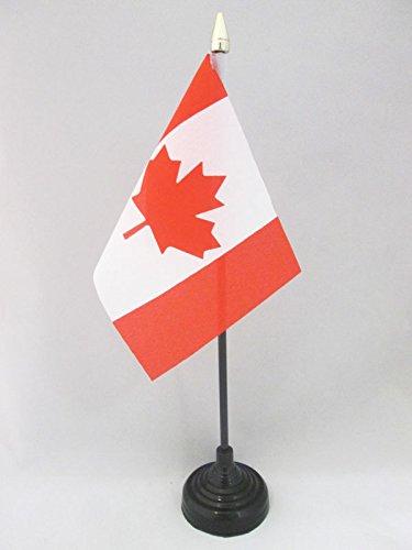 DRAPEAU DE TABLE CANADA 15x10cm - PETIT DRAPEAUX DE BUREAU CANADIEN 10 x 15 cm pointe dorée - AZ FLAG
