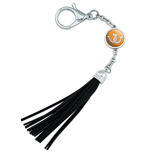 Horseshoes Crossed Orange Backpack Handbag Purse Sports Bottle Keychain Tassel Charm from Graphics and More