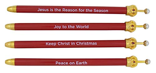 Stocking Season (Assorted Red Religious Christmas Blue Ink Crown Pen, Pack of 4)