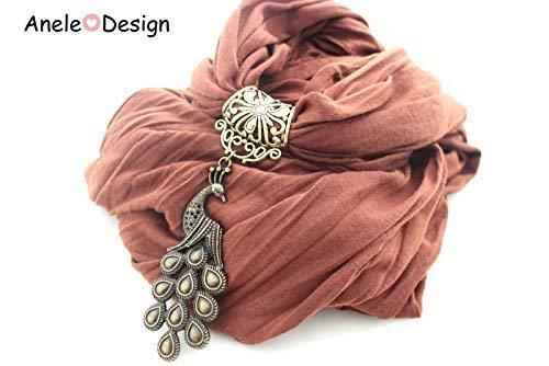 Écharpe bijou femme, Paon bronze, marron retro, cadeau femme