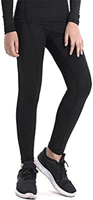 QCHENG Boys /& Girls Compression Tights Sport Leggings Base Layer Soccer Hockey Thermal Pants for Kids