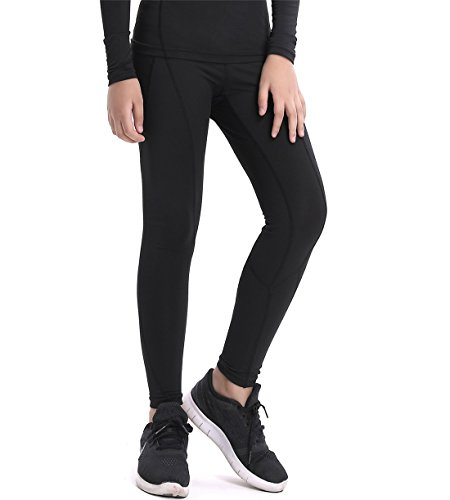 QCHENG Boys & Girls Compression Tights Sport Leggings Base Layer Soccer Hockey Thermal Pants for Kids (Black2 14)