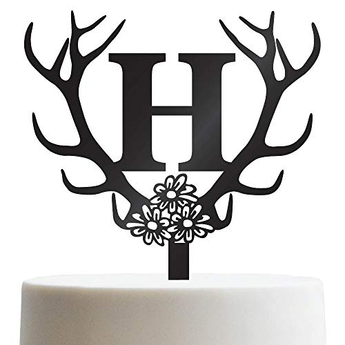 (Personalized Cake Topper For Wedding, Engagement, Birthday, Sweet 16 Customized Cake Topper Antler Initial | Solid Color Cake)