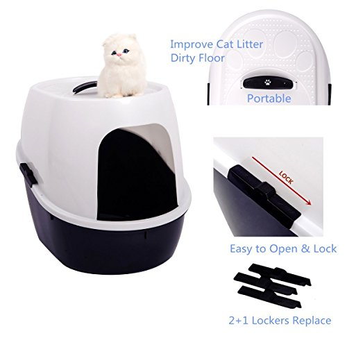 Favorite® 21 Inch by 16 Inch by 17 Inch Cat Litter Box Medium to Large/ High Hooded Litter Pan/ Medium Large Enclosed Kitten Litter Box/ Covered Kitty Litter Pan, White & Black, Side Entry/ Side Access - Black Enclosed Litter Box
