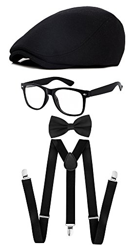 Classic Gatsby Newsboy Ivy Hat,Suspenders Y-Back Trouser Braces,Pre Tied Bow Tie,Non Prescription Glasses (Cotton - Black) by ZeroShop