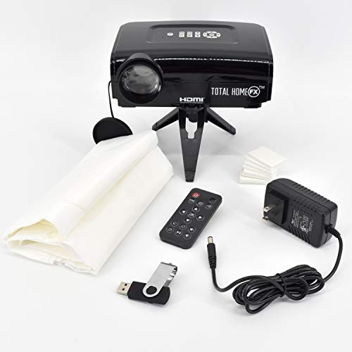Total HomeFX 800 Series Projector Kit with Pre-Loaded Seasonal and Holiday Videos, Remote Control, Tripod, Projection Screen, and HDMI Capable]()