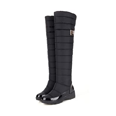 58cf3fc0f892 Amazon.com | Top Shishang Winter Down Over The Knee Wedge a Warm Casual  Snow Boots Martin Boots Female | Shoes