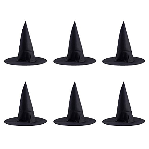 TINKSKY Halloween Steeple Witch Hat Classic Black Magic Cap Party Props accessories Halloween Costumes 6 Pcs -