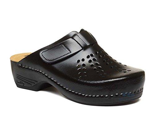 Sabot Pantofole Scarpe PU161 Nero LEON Pelle Donna Zoccoli EtwSqx6