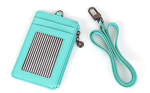 Genuine Leather Slim Bills & Credit Card Holder Id Card Case Holder Useful Purse with Neck Strap (Mint)
