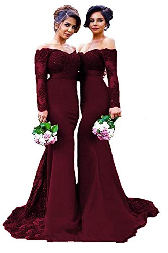 Long Sleeve Bridesmaid Dress Long Prom Dresses Mermaid Burgundy Satin Evening Party Gowns Off The Shoulder ()