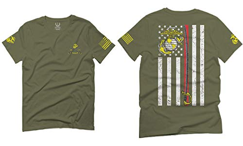 VICES AND VIRTUESS US Marine Corps Support Thin line American Flag USMC for Men T Shirt (Olive Green, X-Large)