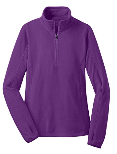 Joe's USA - Ladies Microfleece 1/2-Zip Pullover Sweatshirt-Purple-L