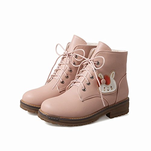 Latasa Dames Konijn Veter Lage Hak Winter Oxford Boots Roze