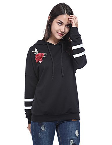 (Fancyqube Women's Rose Floral Embroidered Sweatshirt Long Sleeve Pullover Hoodie Black M)