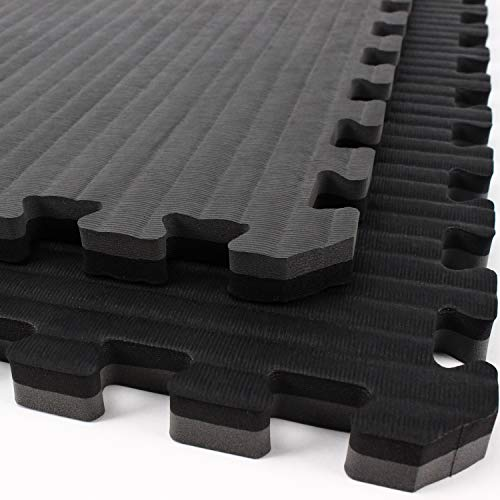 IncStores - Tatami Foam Tiles - Extra Thick mats Perfect for Martial Arts, MMA, Lightweight Home Gyms, p90x, Gymnastics, Yoga and Cardio (Black/Grey, 1 (3'x3') Tile, 9 Sqft + Borders) by IncStores (Image #6)