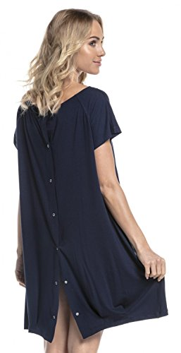 Button Mama - Happy Mama. Womens Labor Delivery Hospital Gown Breastfeeding Maternity. 097p (Navy, US 6/8, S)