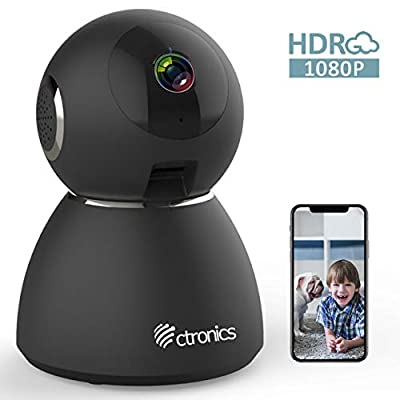 25fps 1080P HDR WiFi Security Camera Indoor, Ctronics IP Security Camera with Upgraded Night Vision, Motion & Sound Detection, Two-Way Audio, 355°Angle for Baby, Pet, Home Surveillance