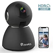 #LightningDeal 25fps 1080P HDR WiFi Security Camera Indoor, Ctronics IP Security Camera with Upgraded Night Vision, Motion & Sound Detection, Two-Way Audio, 355°Angle for Baby, Pet, Home Surveillance