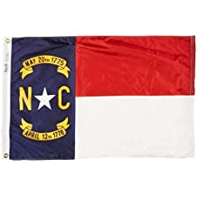 Annin North Carolina State Flag 2x3 ft. Nylon SolarGuard Nyl-Glo 100% Made in USA to Official State Design Specifications by Flagmakers. Model 143950