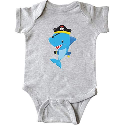 (inktastic - Pirate Shark, Shark Infant Creeper Newborn Heather Grey 35a95)