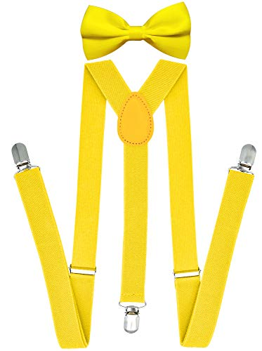 (Trilece Suspenders and Bowtie Set for Men Women Adults - Adjustable Elastic Y Back Style Suspender Bow)