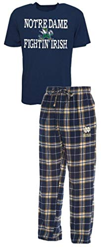 NCAA Notre Dame Fighting Irish Men's Shirt and Pajama Pants Flannel PJ Sleep Set 2XL 44-46