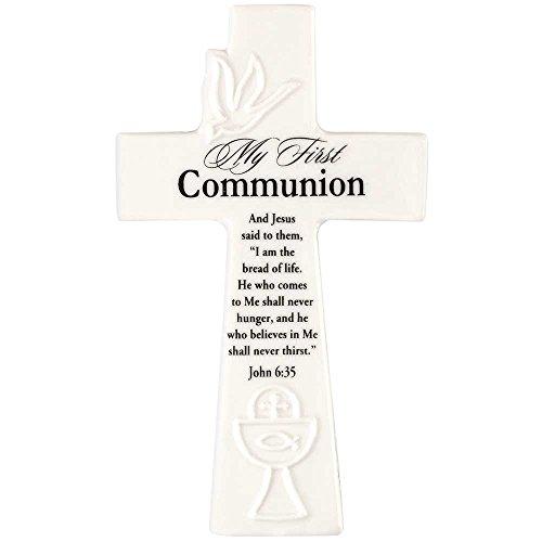 My First Communion John 6:25 White 6 Inch White Porcelain Wall Cross